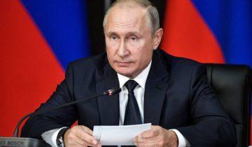 """MOSCOW REGION, RUSSIA – SEPTEMBER 19, 2018: Russia's President Vladimir Putin chairs a meeting of the Russian Military-Industrial Commission at Patriot military park. Alexei Nikolsky/Russian Presidential Press and Information Office/TASS  Ðîññèÿ. Ìîñêîâñêàÿ îáëàñòü. Ïðåçèäåíò ÐÔ Âëàäèìèð Ïóòèí âî âðåìÿ çàñåäàíèÿ Âîåííî-ïðîìûøëåííîé êîìèññèè ÐÔ íà òåððèòîðèè âûñòàâî÷íîãî êîìïëåêñà âîåííî-ïàòðèîòè÷åñêîãî ïàðêà """"Ïàòðèîò"""". Àëåêñåé Íèêîëüñêèé/ïðåññ-ñëóæáà ïðåçèäåíòà ÐÔ/ÒÀÑÑ"""