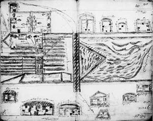 Эскиз Тамгинского завода, выполненный в 1737 году подьячим Федором Сургуцким