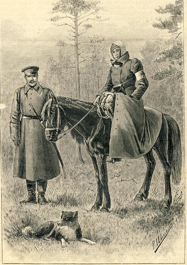 «Мисс Кэт Марсден с Егором и Жучкой» (фоторепродукция из журнала «Нива», 1892 г.)