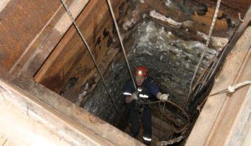 Первый спуск в шахту
