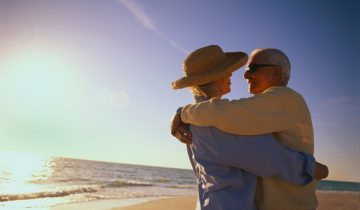 Older Couple Hugging at Beach