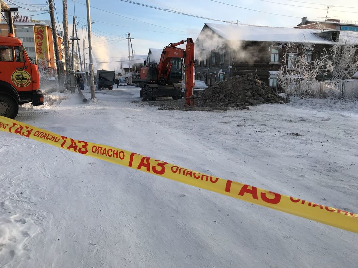 1-7 В Якутске произошла авария на газовой магистрали в районе Строительного рынка