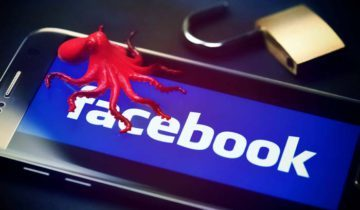 Krake auf Smartphone mit Facebook-Logo, Datenskandal *** Octopus on smartphone with Facebook logo data scandal