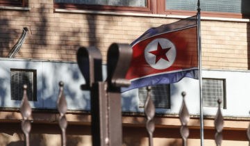 epa07259919 The North Korean flag flies inside North Korea's embassy compound in Rome, Italy, 03 January 2019. North Korea's acting ambassador to Italy, Jo Song Gil, went 'in hiding' with his wife in November 2018, South Korea's spy agency told lawmakers in Seoul. According to reports citing anonymous diplomatic sources, Jo has reportedly sought asylum with his family in early December 2018 in an 'unspecified Western country.'  EPA-EFE/GIUSEPPE LAMI